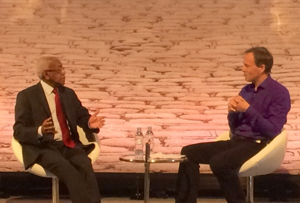 Sir Trevor McDonald OBE and ITN political editor Tom Bradby discussing the art of story-telling.