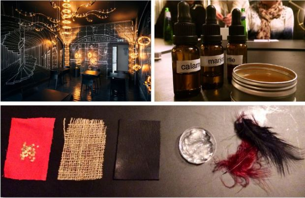 Clockwise from top left: Roma Phantasma room; hot wax setting; scent samples and raw perfume ingredients